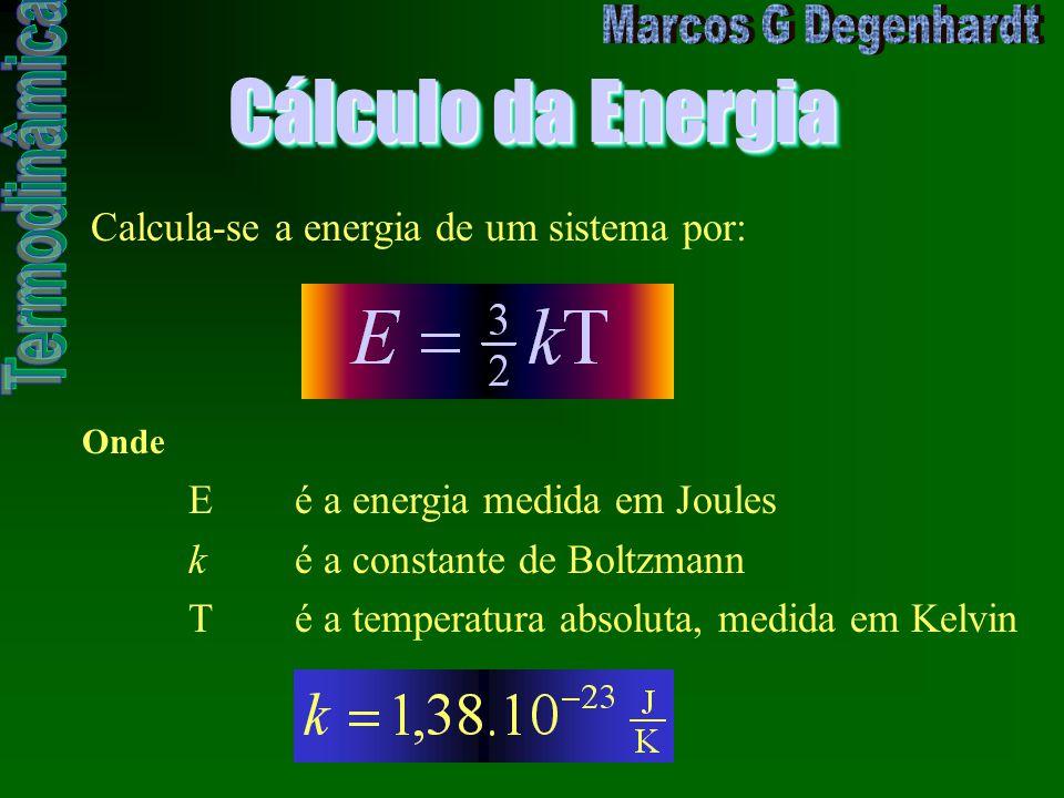 Cálculo da Energia Calcula-se a energia de um sistema por: Onde Eé a energia medida em Joules ké a constante de Boltzmann Té a temperatura absoluta, m