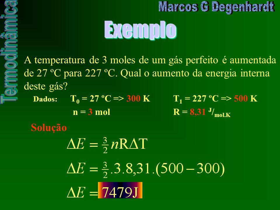 ExemploExemplo A temperatura de 3 moles de um gás perfeito é aumentada de 27 ºC para 227 ºC. Qual o aumento da energia interna deste gás? Dados: T 0 =