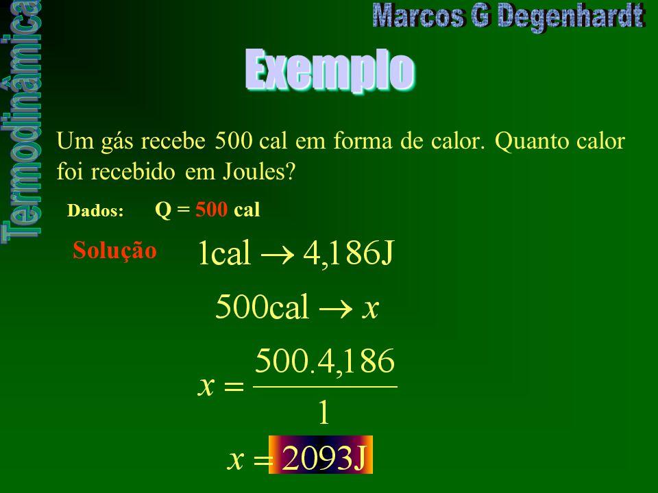 ExemploExemplo Um gás recebe 500 cal em forma de calor. Quanto calor foi recebido em Joules? Dados: Q = 500 cal Solução