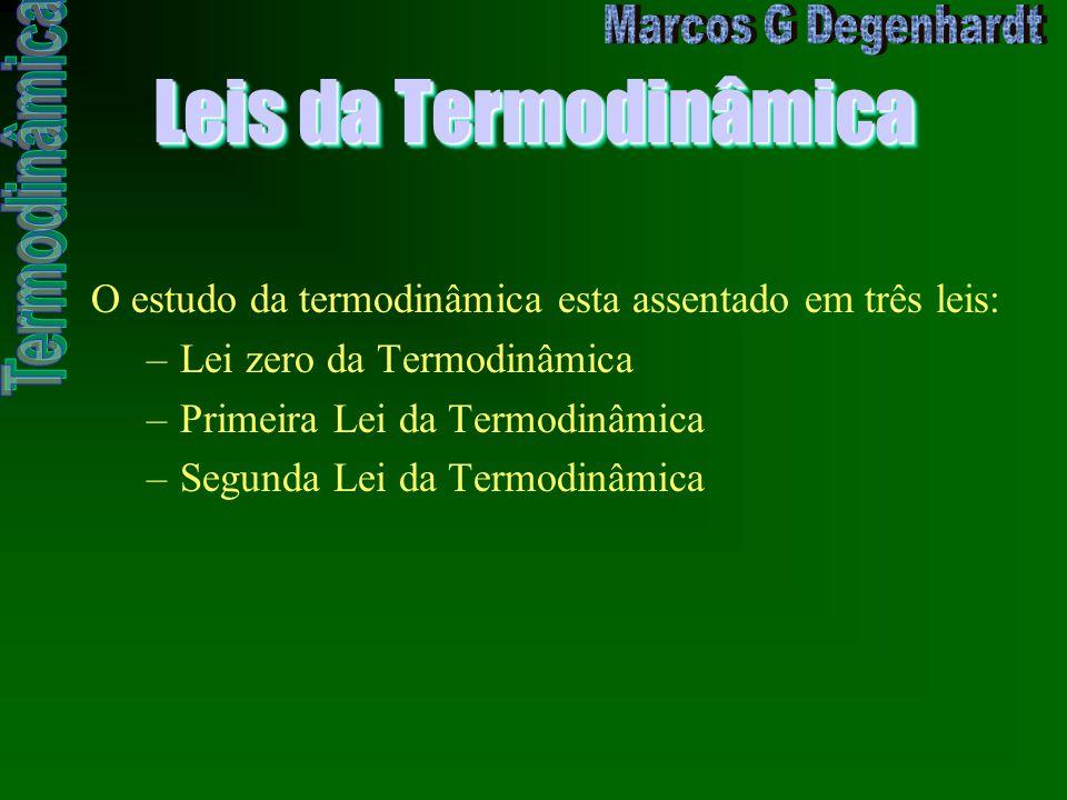 Leis da Termodinâmica O estudo da termodinâmica esta assentado em três leis: –Lei zero da Termodinâmica –Primeira Lei da Termodinâmica –Segunda Lei da