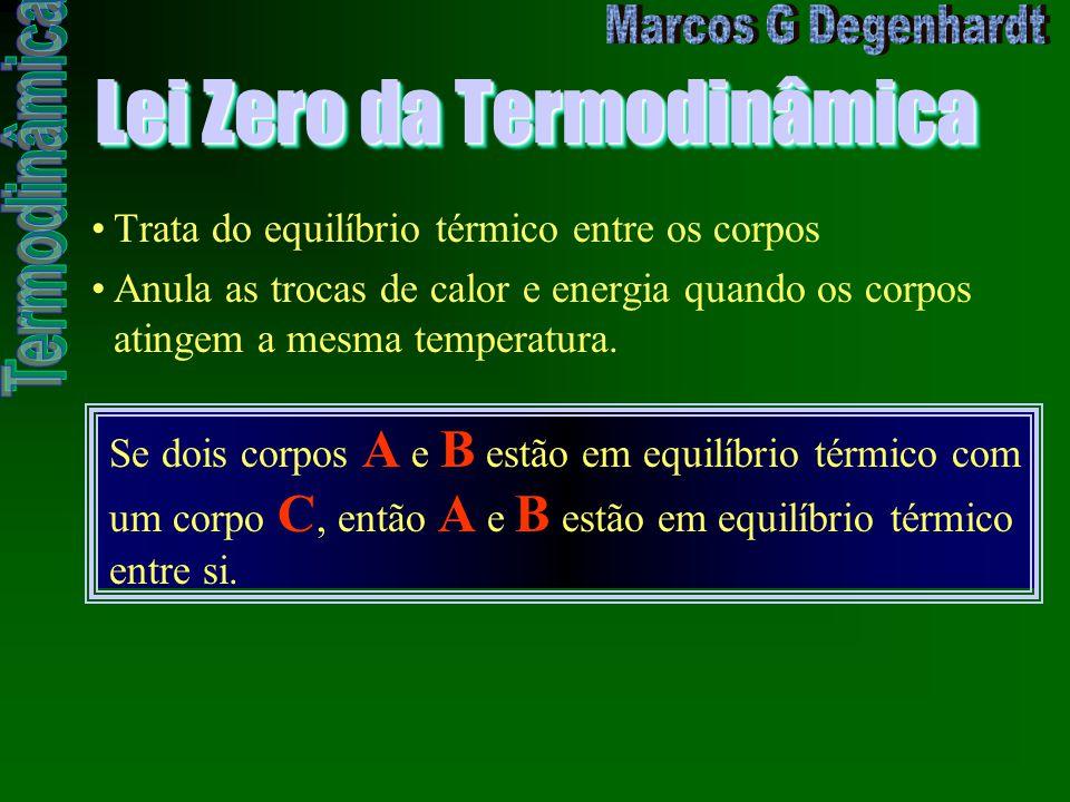 Lei Zero da Termodinâmica Trata do equilíbrio térmico entre os corpos Anula as trocas de calor e energia quando os corpos atingem a mesma temperatura.