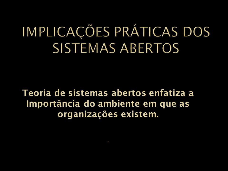 Teoria de sistemas abertos enfatiza a Importância do ambiente em que as organizações existem..