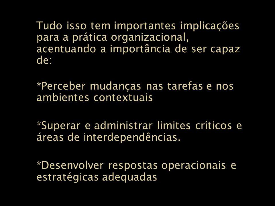 Tudo isso tem importantes implicações para a prática organizacional, acentuando a importância de ser capaz de: *Perceber mudanças nas tarefas e nos am