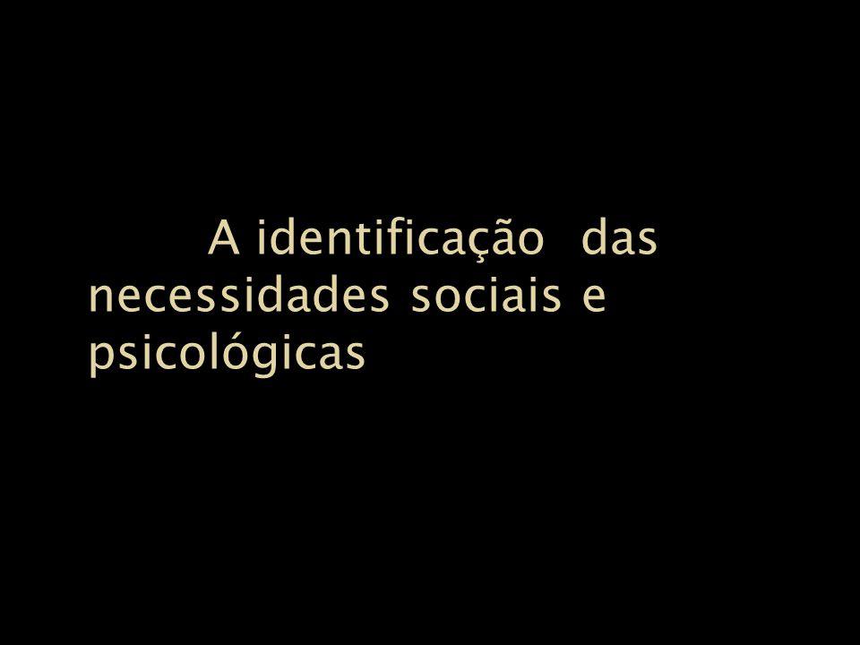 A identificação das necessidades sociais e psicológicas A identificação das necessidades sociais e psicológicas