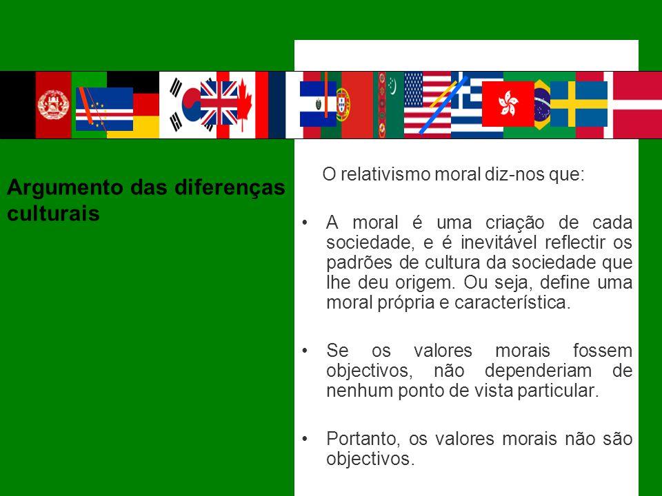 O relativismo moral diz-nos que: A moral é uma criação de cada sociedade, e é inevitável reflectir os padrões de cultura da sociedade que lhe deu orig