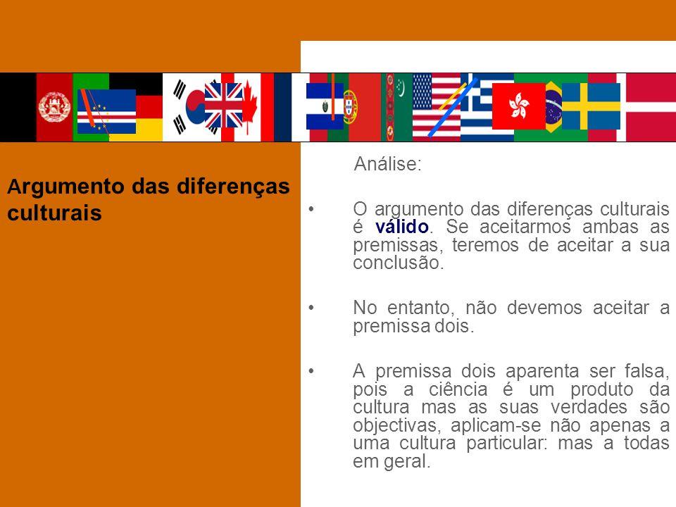 Análise: O argumento das diferenças culturais é válido. Se aceitarmos ambas as premissas, teremos de aceitar a sua conclusão. No entanto, não devemos
