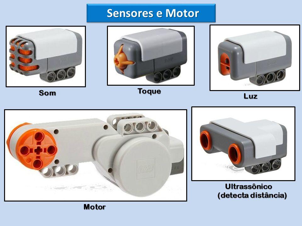 Sensores e Motor Som Toque Luz Ultrassônico Ultrassônico (detecta distância) (detecta distância) Motor