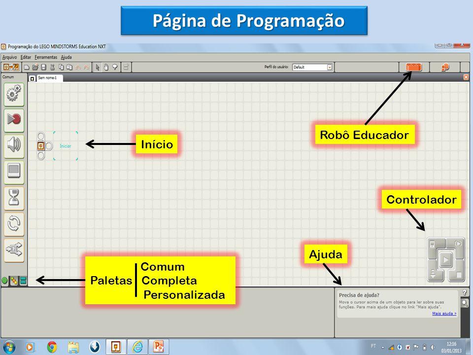 Página de Programação Início Comum Paletas Completa Personalizada Ajuda Controlador Robô Educador