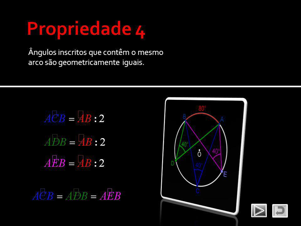 Ângulos inscritos que contêm o mesmo arco são geometricamente iguais.