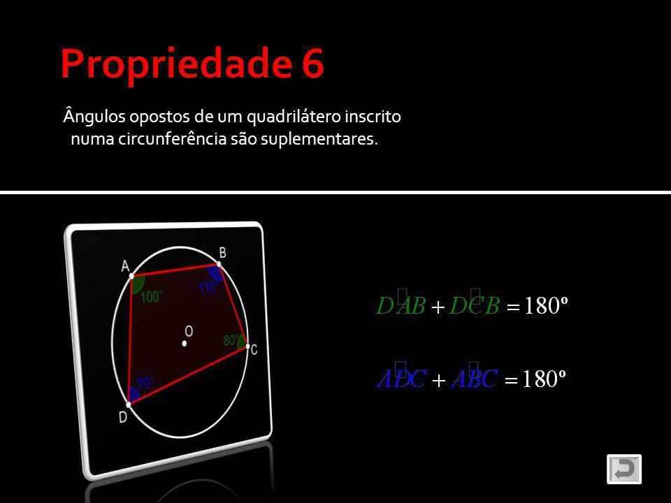 Ângulos opostos de um quadrilátero inscrito numa circunferência são suplementares.
