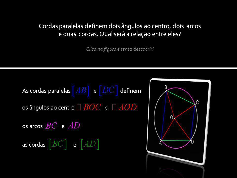 os ângulos ao centro e As cordas paralelas e definem Cordas paralelas definem dois ângulos ao centro, dois arcos e duas cordas.