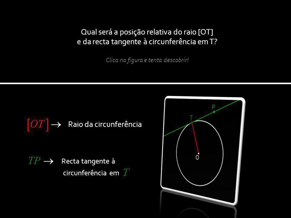 Qual será a posição relativa do raio [OT] e da recta tangente à circunferência em T.