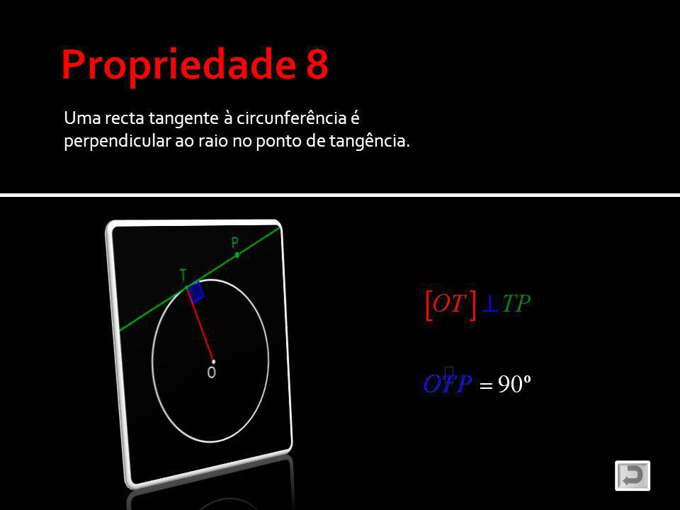 Uma recta tangente à circunferência é perpendicular ao raio no ponto de tangência.