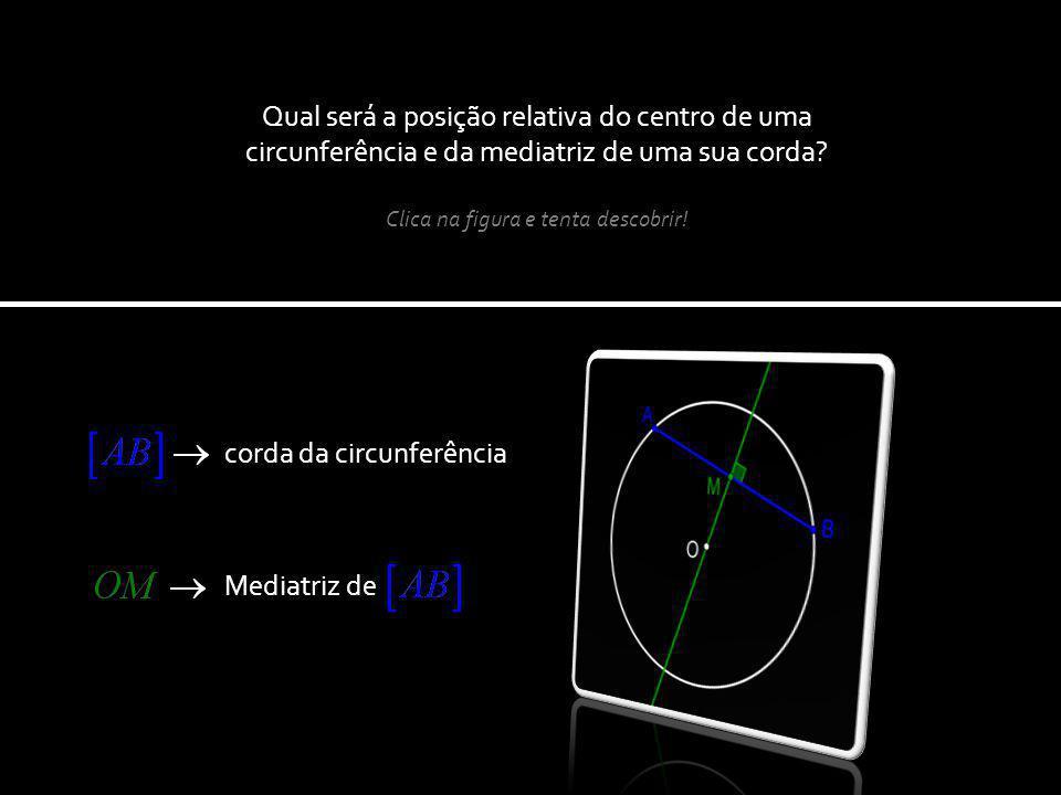 Qual será a posição relativa do centro de uma circunferência e da mediatriz de uma sua corda.