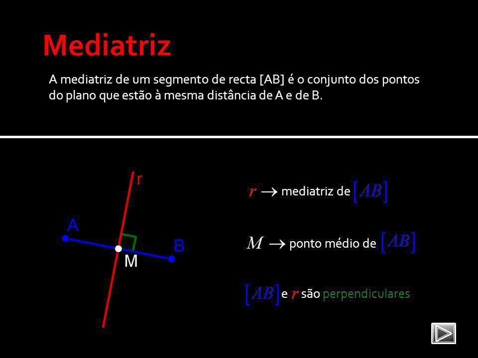 A mediatriz de um segmento de recta [AB] é o conjunto dos pontos do plano que estão à mesma distância de A e de B.