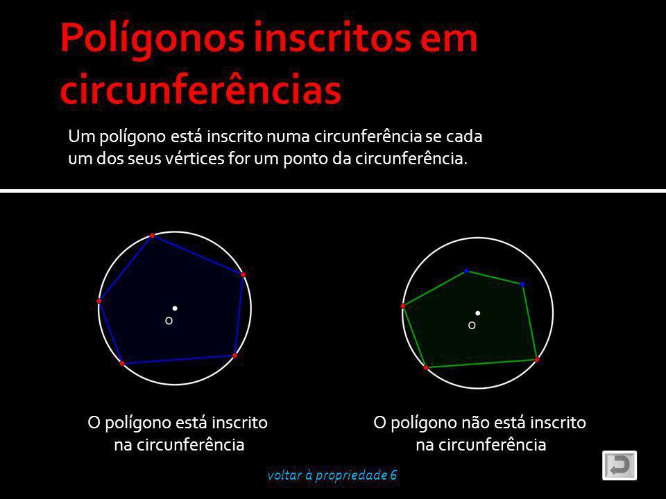 Um polígono está inscrito numa circunferência se cada um dos seus vértices for um ponto da circunferência.