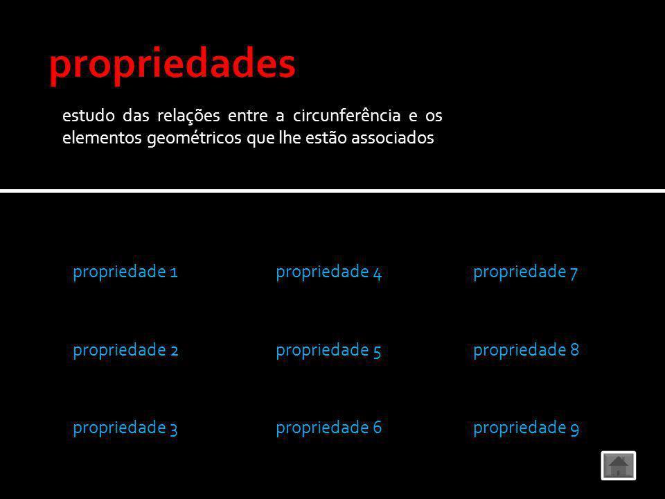 propriedade 1 propriedade 2 propriedade 3 propriedade 4 propriedade 5 propriedade 6 propriedade 7 propriedade 8 propriedade 9 estudo das relações entre a circunferência e os elementos geométricos que lhe estão associados