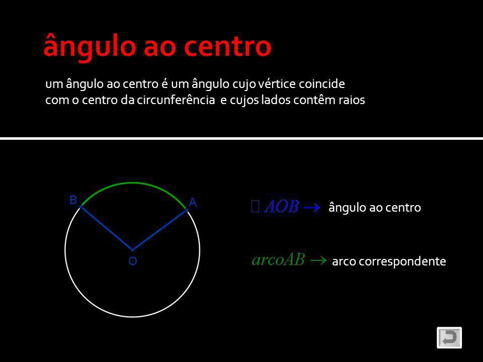 um ângulo ao centro é um ângulo cujo vértice coincide com o centro da circunferência e cujos lados contêm raios ângulo ao centro arco correspondente
