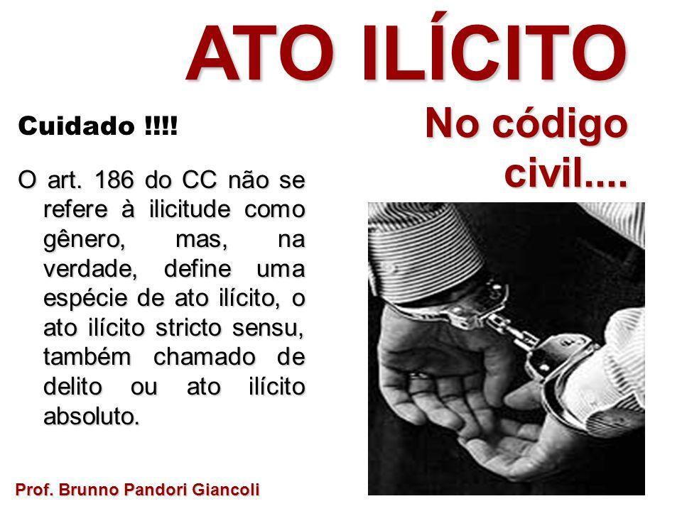Cuidado !!!! O art. 186 do CC não se refere à ilicitude como gênero, mas, na verdade, define uma espécie de ato ilícito, o ato ilícito stricto sensu,