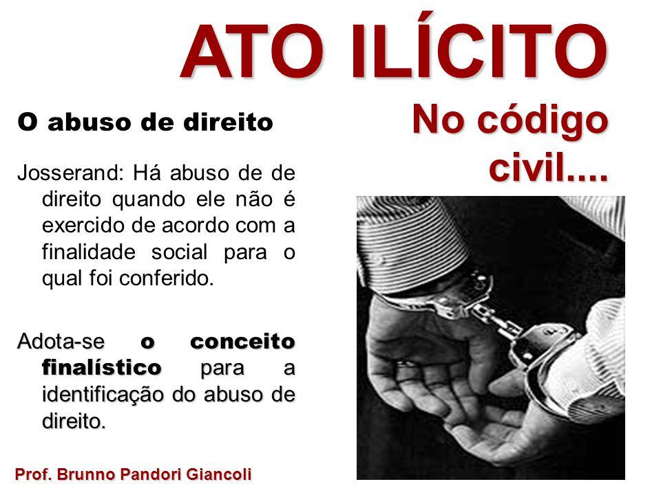 O abuso de direito Josserand: Há abuso de de direito quando ele não é exercido de acordo com a finalidade social para o qual foi conferido.