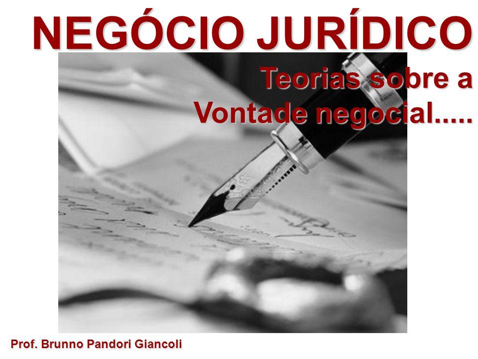 NEGÓCIO JURÍDICO Teorias sobre a Teorias sobre a Vontade negocial..... Prof. Brunno Pandori Giancoli