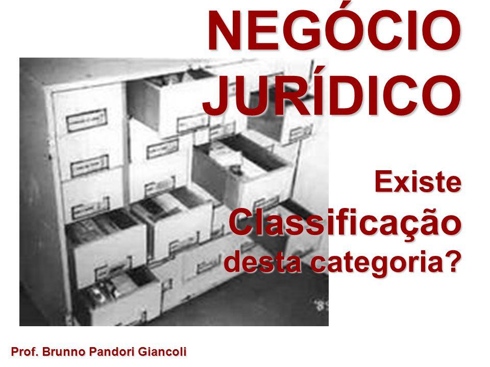 Prof. Brunno Pandori Giancoli NEGÓCIO JURÍDICO ExisteClassificação desta categoria?