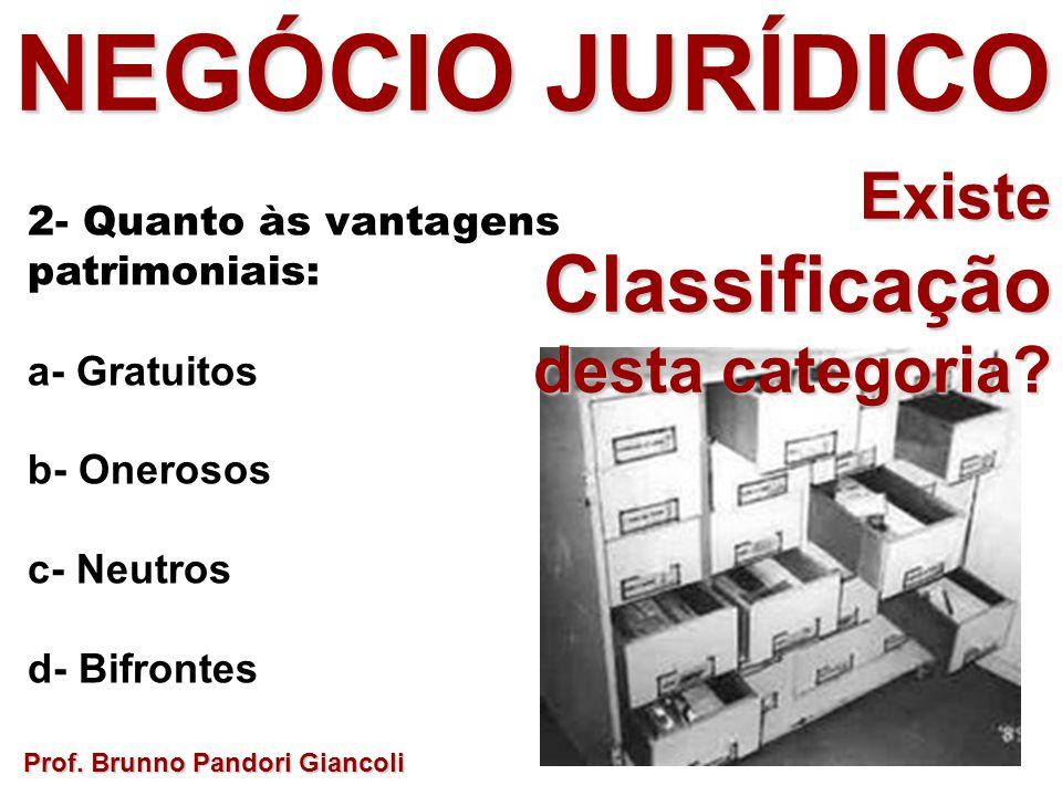 Prof. Brunno Pandori Giancoli 2- Quanto às vantagens patrimoniais: a- Gratuitos b- Onerosos c- Neutros d- Bifrontes NEGÓCIO JURÍDICO ExisteClassificaç