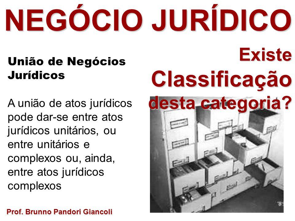 Prof. Brunno Pandori Giancoli União de Negócios Jurídicos A união de atos jurídicos pode dar-se entre atos jurídicos unitários, ou entre unitários e c