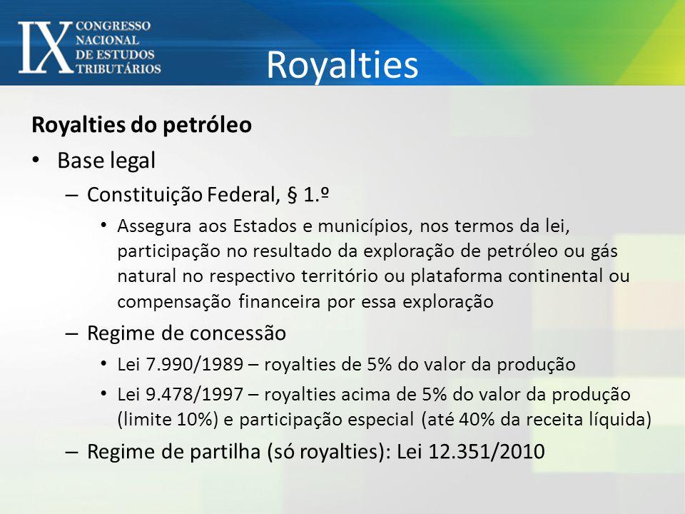 Royalties Royalties do petróleo Base legal – Constituição Federal, § 1.º Assegura aos Estados e municípios, nos termos da lei, participação no resultado da exploração de petróleo ou gás natural no respectivo território ou plataforma continental ou compensação financeira por essa exploração – Regime de concessão Lei 7.990/1989 – royalties de 5% do valor da produção Lei 9.478/1997 – royalties acima de 5% do valor da produção (limite 10%) e participação especial (até 40% da receita líquida) – Regime de partilha (só royalties): Lei 12.351/2010
