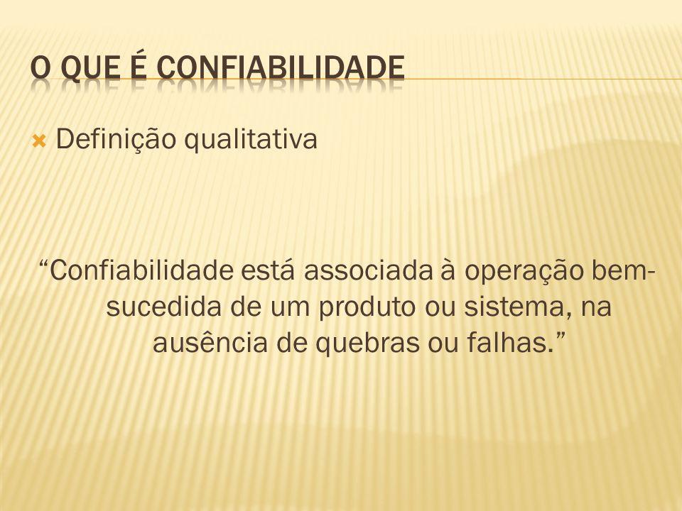 Definição qualitativa Confiabilidade está associada à operação bem- sucedida de um produto ou sistema, na ausência de quebras ou falhas.