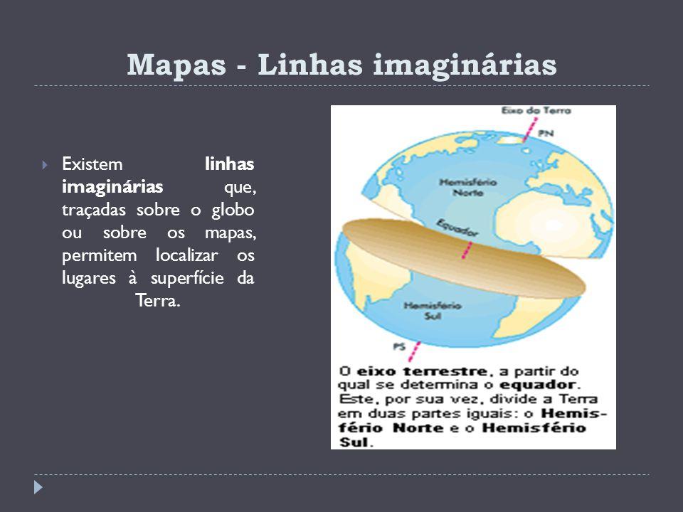 Mapas - Linhas imaginárias Existem linhas imaginárias que, traçadas sobre o globo ou sobre os mapas, permitem localizar os lugares à superfície da Ter