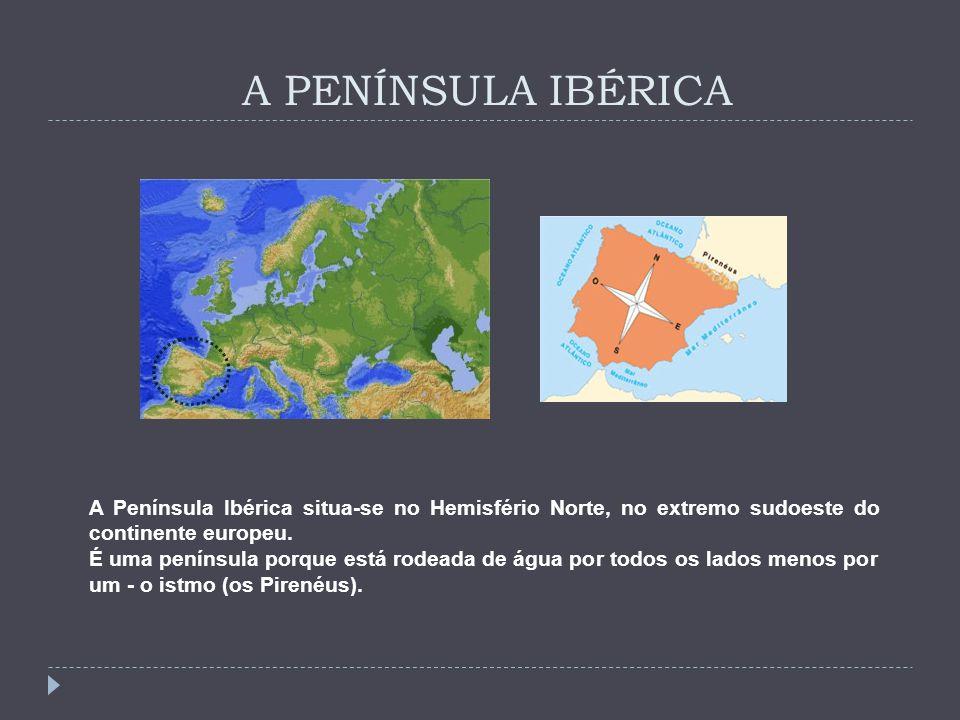 A PENÍNSULA IBÉRICA A Península Ibérica situa-se no Hemisfério Norte, no extremo sudoeste do continente europeu. É uma península porque está rodeada d