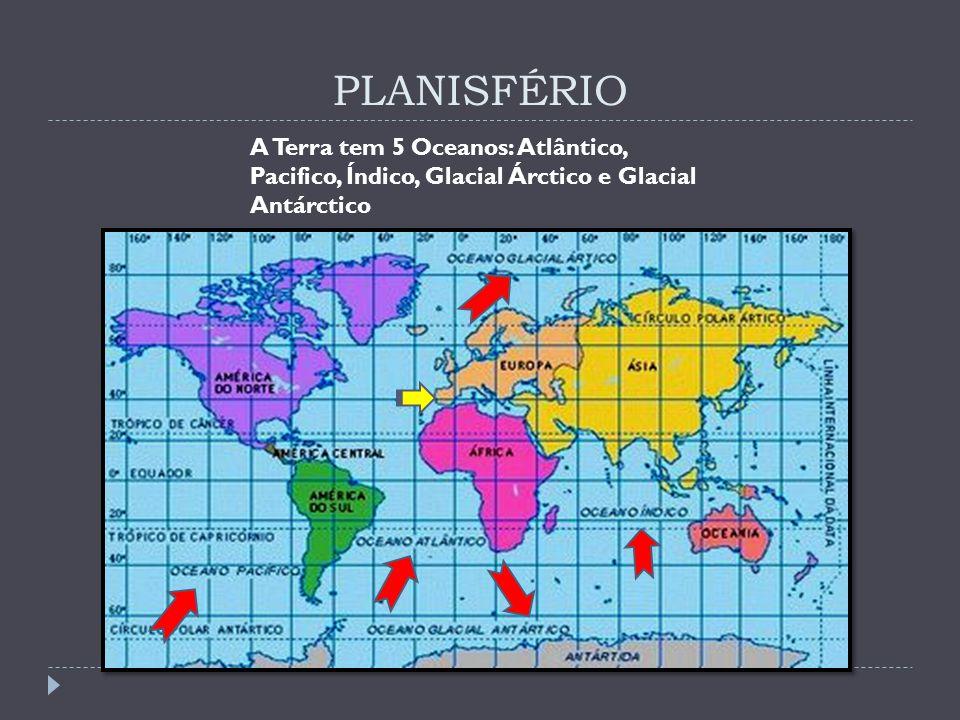 PLANISFÉRIO A Terra tem 5 Oceanos: Atlântico, Pacifico, Índico, Glacial Árctico e Glacial Antárctico