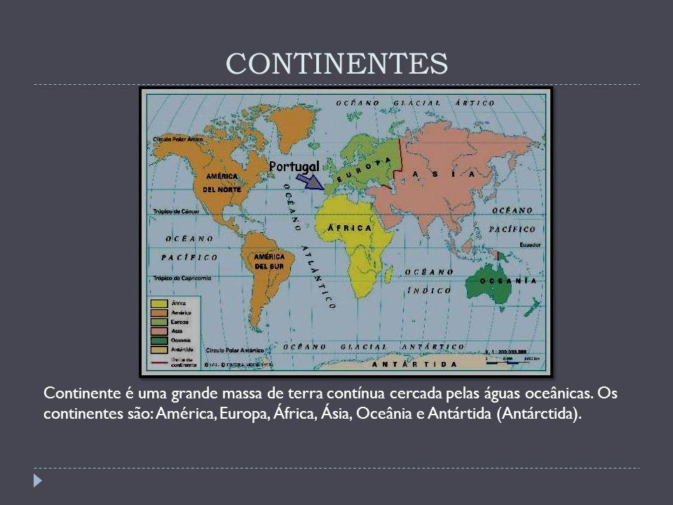 CONTINENTES Continente é uma grande massa de terra contínua cercada pelas águas oceânicas. Os continentes são: América, Europa, África, Ásia, Oceânia