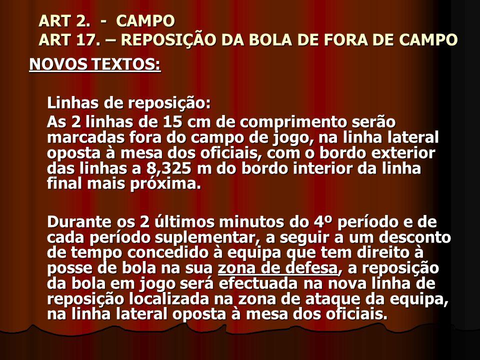ART 2. - CAMPO ART 17. – REPOSIÇÃO DA BOLA DE FORA DE CAMPO NOVOS TEXTOS: Linhas de reposição: As 2 linhas de 15 cm de comprimento serão marcadas fora