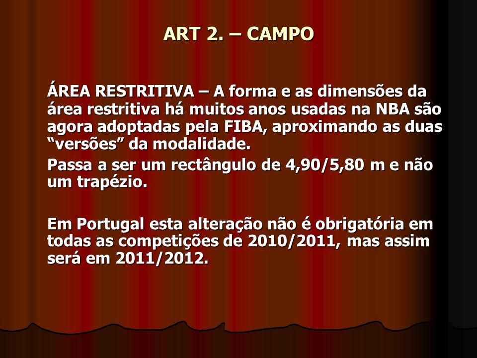 ART 2. – CAMPO ÁREA RESTRITIVA – A forma e as dimensões da área restritiva há muitos anos usadas na NBA são agora adoptadas pela FIBA, aproximando as