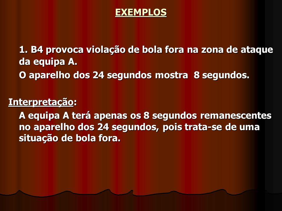 EXEMPLOS1. B4 provoca violação de bola fora na zona de ataque da equipa A. O aparelho dos 24 segundos mostra 8 segundos. Interpretação: A equipa A ter