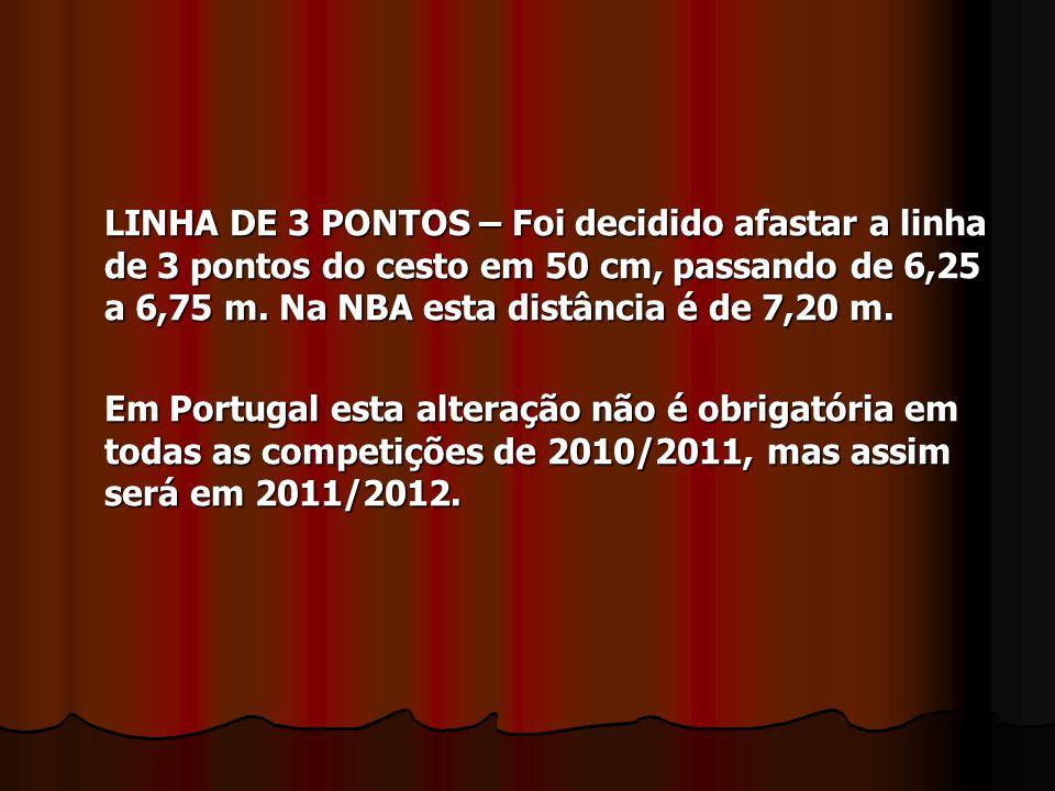 LINHA DE 3 PONTOS – Foi decidido afastar a linha de 3 pontos do cesto em 50 cm, passando de 6,25 a 6,75 m. Na NBA esta distância é de 7,20 m. Em Portu