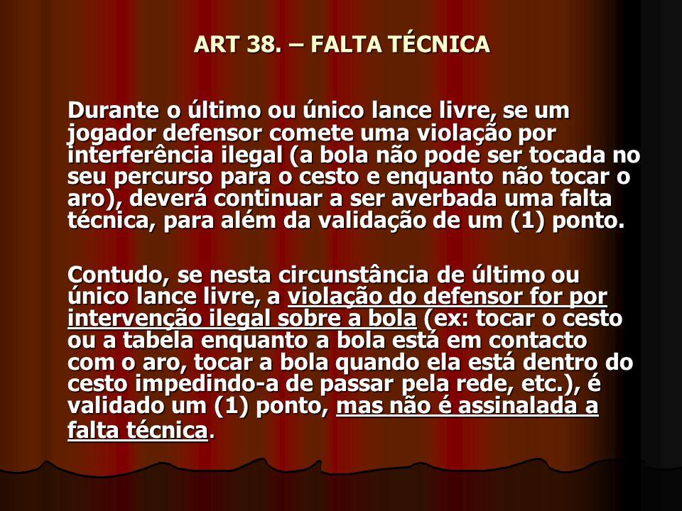 ART 38. – FALTA TÉCNICA Durante o último ou único lance livre, se um jogador defensor comete uma violação por interferência ilegal (a bola não pode se