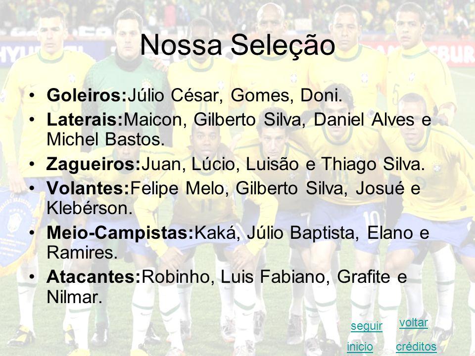 Nossa Seleção Goleiros:Júlio César, Gomes, Doni.