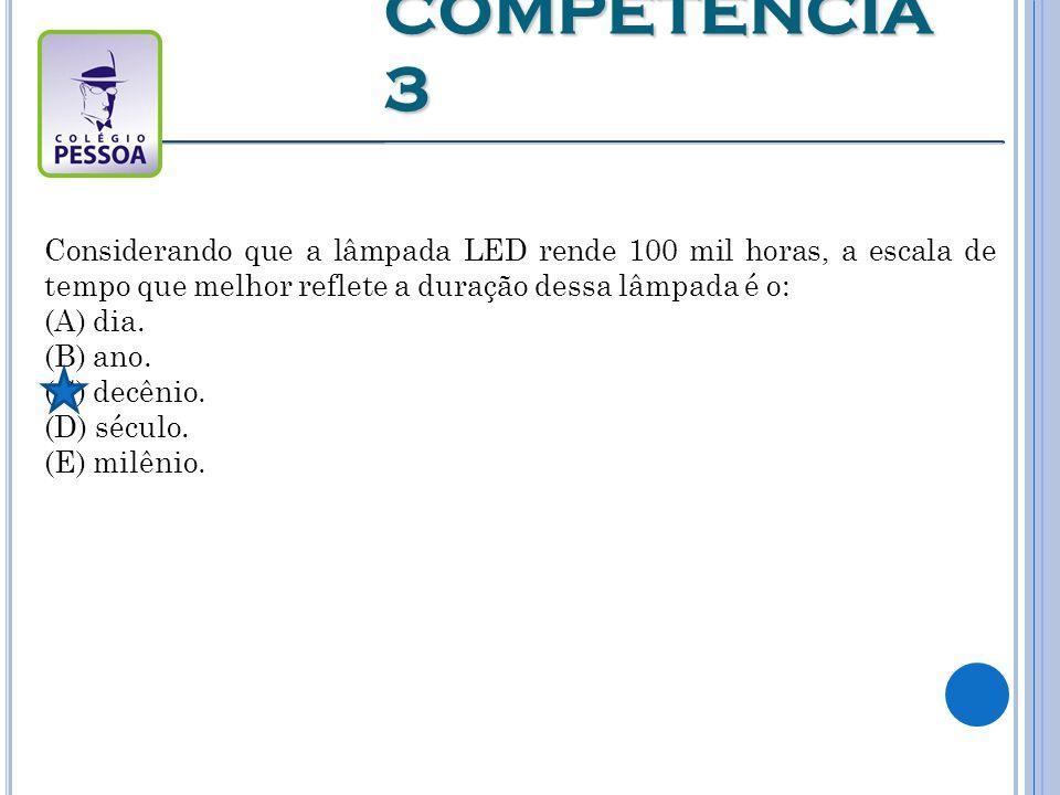 Considerando que a lâmpada LED rende 100 mil horas, a escala de tempo que melhor reflete a duração dessa lâmpada é o: (A) dia.