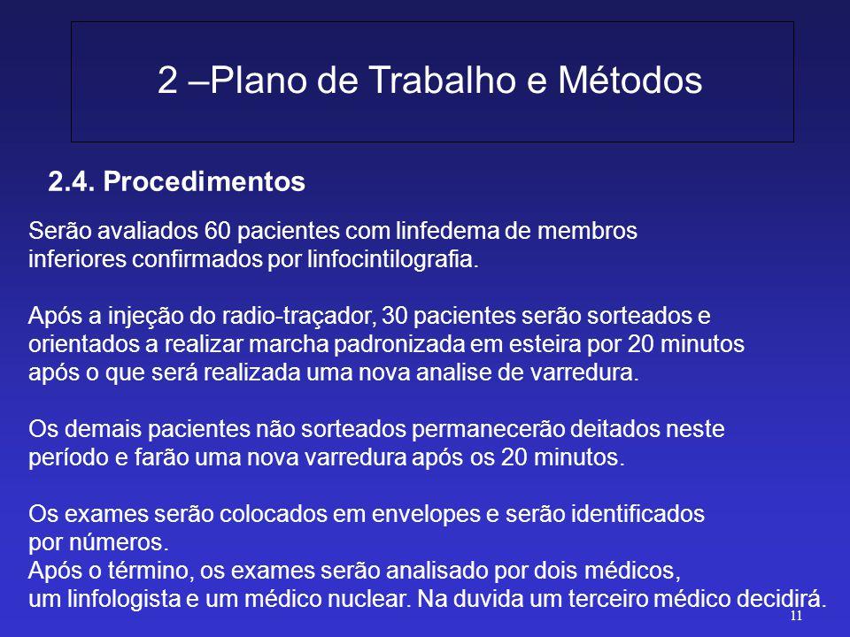 2.4. Procedimentos 2 –Plano de Trabalho e Métodos 11 Serão avaliados 60 pacientes com linfedema de membros inferiores confirmados por linfocintilograf