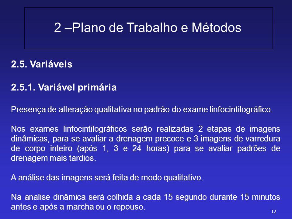 2.5. Variáveis 2.5.1. Variável primária Presença de alteração qualitativa no padrão do exame linfocintilográfico. Nos exames linfocintilográficos serã