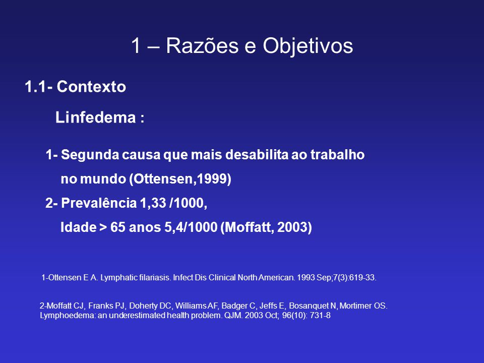 1 – Razões e Objetivos 1.1- Contexto 1- O Documento de Consenso da Sociedade Internacional de Linfologia (2003) 2- 1° Consenso Latino Americano para o Tratamento do Linfedema (Ciucci, 2003) 3- A diretriz da Sociedade Brasileira de Angiologia e de Cirurgia Vascular (Guedes, 2005) preconiza a escolha da linfocintilografia no diagnóstico e acompanhamento no tratamento do linfedema The diagnosis and treatment of peripheral lymphedema.