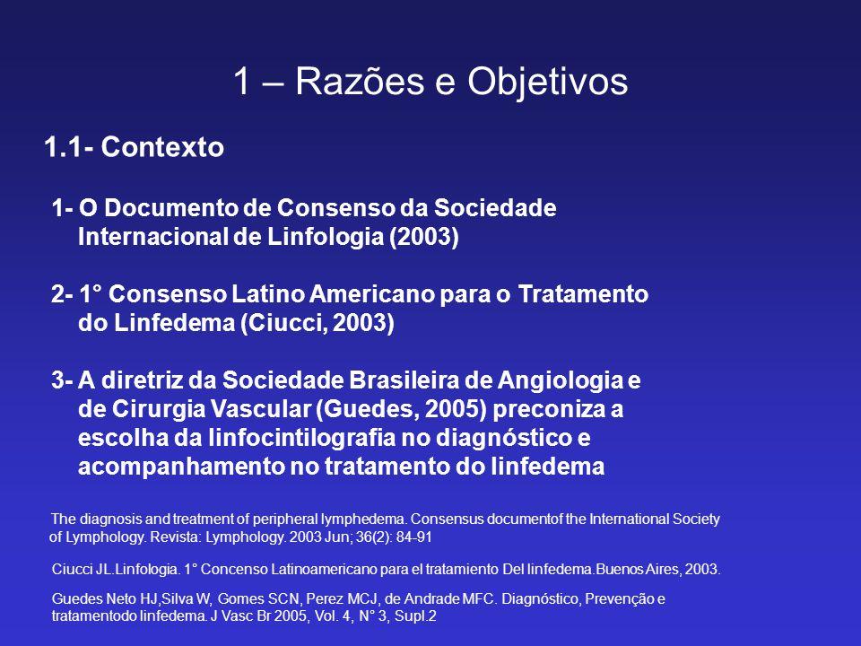 1 – Razões e Objetivos 1.1- Contexto 1- O Documento de Consenso da Sociedade Internacional de Linfologia (2003) 2- 1° Consenso Latino Americano para o