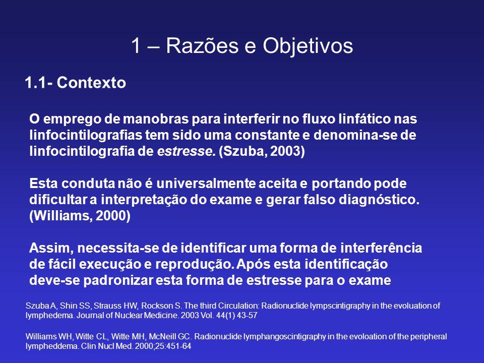 1 – Razões e Objetivos 1.1- Contexto O emprego de manobras para interferir no fluxo linfático nas linfocintilografias tem sido uma constante e denomin