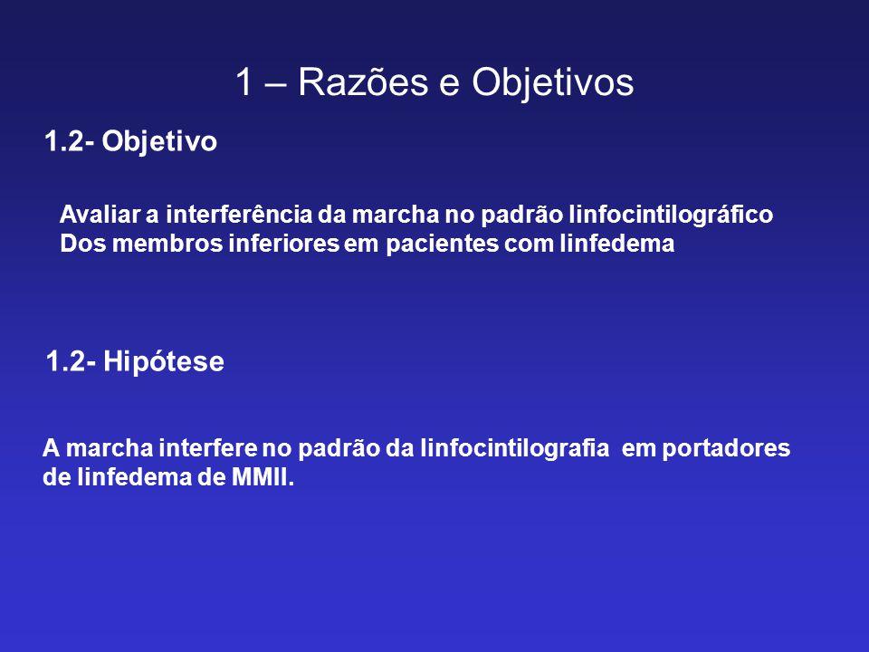 1 – Razões e Objetivos 1.2- Objetivo Avaliar a interferência da marcha no padrão linfocintilográfico Dos membros inferiores em pacientes com linfedema