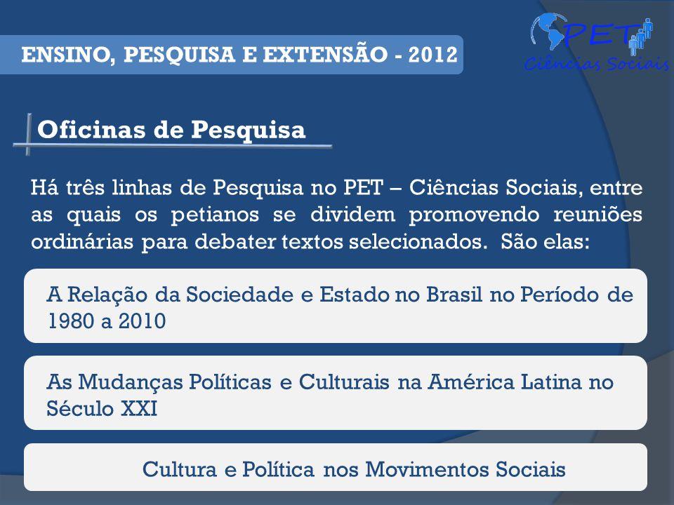 Oficinas de Pesquisa ENSINO, PESQUISA E EXTENSÃO - 2012 Há três linhas de Pesquisa no PET – Ciências Sociais, entre as quais os petianos se dividem promovendo reuniões ordinárias para debater textos selecionados.