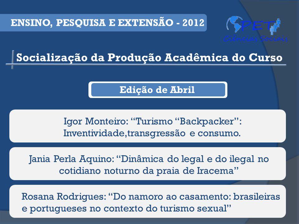 Edição de Abril Igor Monteiro: Turismo Backpacker: Inventividade,transgressão e consumo.