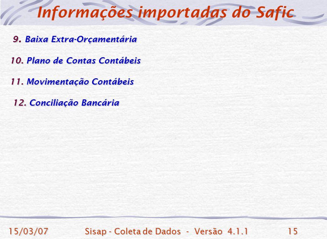 15/03/07Sisap - Coleta de Dados - Versão 4.1.115 9. Baixa Extra-Orçamentária 9. Baixa Extra-Orçamentária 10. Plano de Contas Contábeis 11. Movimentaçã